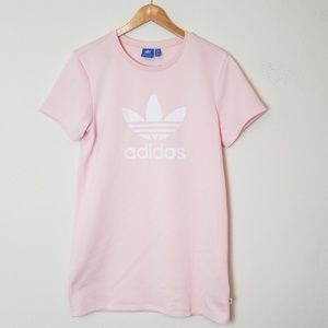 Adidas Tee Dress PINK Small Trefoil Waffle